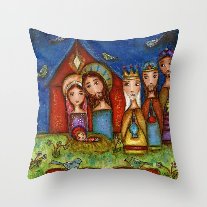 Nativity with Birds Throw Pillow