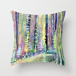Redwoods Road Trip Throw Pillow