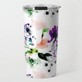 Abstract watercolor flowers purple Travel Mug