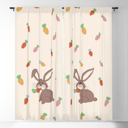 Cute Bunny and Carrots Blackout Curtain
