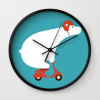 bear Wall Clocks featuring Polar bear on scooter by Picomodi