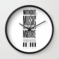 nietzsche Wall Clocks featuring Lab No. 4 - Friedrich Nietzsche Quote life music typography poster by Lab No. 4