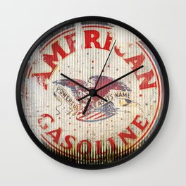 American Gasoline - Vintage Label Wall Clock
