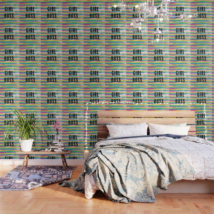 Girl Boss Rainbow Stripes Wallpaper
