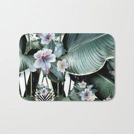Banana leaf tropical paradise, leaves, hibiscus, Hawaii Bath Mat