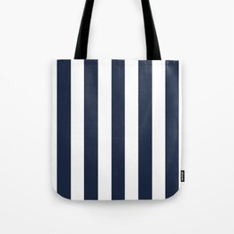 Yankees blue - solid color - white vertical lines pattern Tote Bag