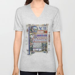 Arthur Szyk - Covenant of the League of Nations - Digital Remastered Edition Unisex V-Neck