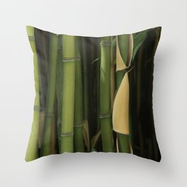 Green Bamboo Canes Stalks Forest Texture Throw Pillow