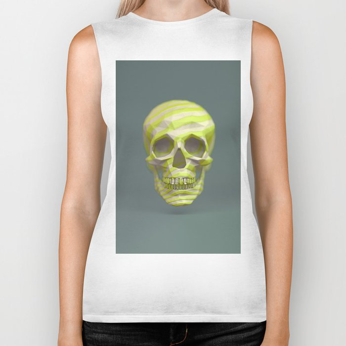 Yellow pop candy skull 3D render. Biker Tank