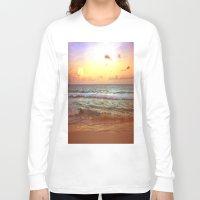 beach Long Sleeve T-shirts featuring beacH Sunrise Sunset by WhimsyRomance&Fun
