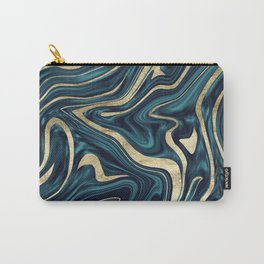 Teal Navy Blue Gold Marble #1 #decor #art #society6 Carry-All Pouch