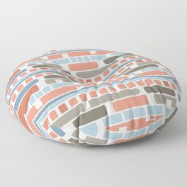 Painted Stripes Colorblock Pattern in Desert Red Blue Gray Floor Pillow
