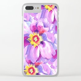 Hand painted lavender pink yellow watercolor floral pattern Clear iPhone Case