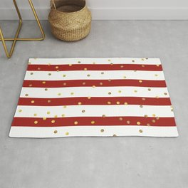 Christmas White and Red and Christmas Golden confetti Rug