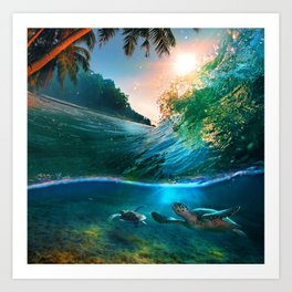Palm Tree - Waves - Turtles - Beach - Ocean Art Print