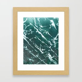 Green textured marble design for gifts, tshirt, cases, wallart, notebook Framed Art Print