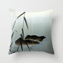 Sleeping Ducks and Full Moon Japanese Woodblock Print Art Throw Pillow