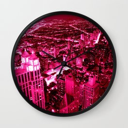 Chicago Skyline Hot Pink Wall Clock