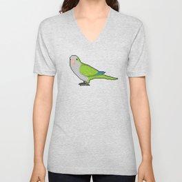 Pixel / 8-bit Parrot: Green Quaker Parrot Unisex V-Neck