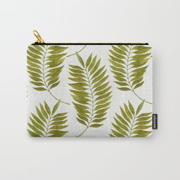 Olive Green Watercolor Palm Leaves Pattern Carry-All Pouch