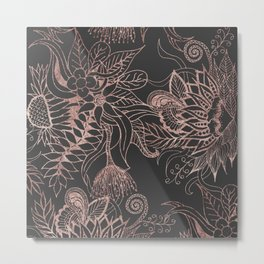 Chic Rose Gold and Black Flowers Leaves Metal Print