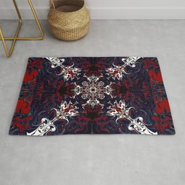 Psychedelic Black, Red and White Pattern Rug