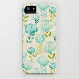 Vintage Aqua Blossoms iPhone Case