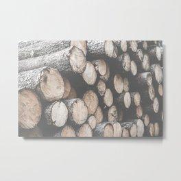 Pile of Felled Wood Metal Print