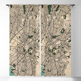 Athens City Map of Greece in Old Vintage Blackout Curtain
