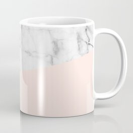 Real White marble Half Salmon Pink Coffee Mug