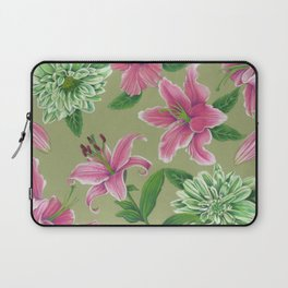 Pink and Green Lilies Laptop Sleeve