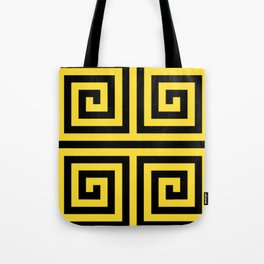 GRAPHIC GRID 4 SWIRL ABSTRACT DESIGN (BLACK AND YELLOW) SERIES 3 OF 6 Tote Bag
