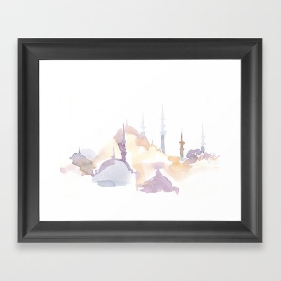 Watercolor landscape illustration_Istanbul - Saint Sophia Framed Art Print
