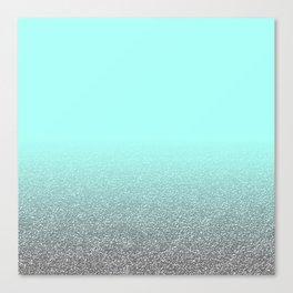 Modern aqua blue faux silver glitter gradient pattern Canvas Print