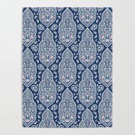 Blue paisley pattern Poster