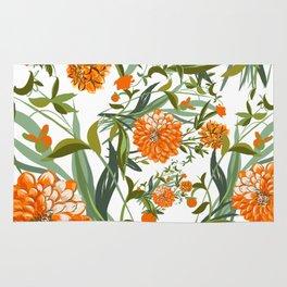 Orange Spring Summer Flowers Boho Rug