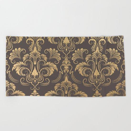 Gold foil swirls damask #10 Beach Towel