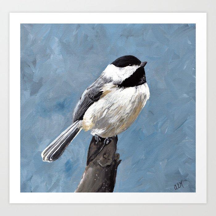 Chickadee Original Acrylic Art on Canvas,Bird Painting, Chickadee Wall Art, Bird on a Branch Art Print