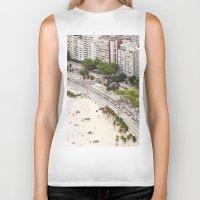 rio de janeiro Biker Tanks featuring Copacabana Beach. Rio de Janeiro. by Jeremiah Wilson