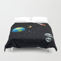 emoji Duvet Covers featuring Space Emoji by jajoão