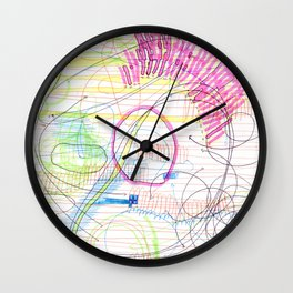 ballpoint pen and highlighter on printer paper #3 Wall Clock