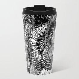 Rooster&Camellia Hat, White on Black Travel Mug
