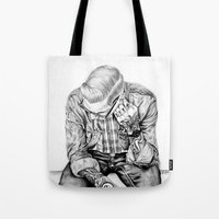 tom selleck Tote Bags featuring tom by Anna Gibson