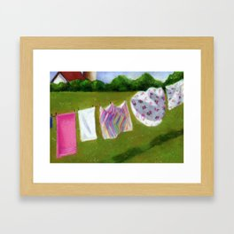 Summer Laundry Hanging in the Sunshine Framed Art Print