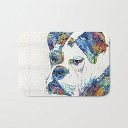 Colorful English Bulldog Art By Sharon Cummings Bath Mat