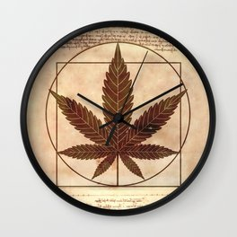 vitruvian marijuana Wall Clock