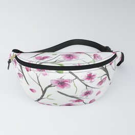 Cherry blossom in watercolor on a white background Fanny Pack