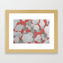 White hexagons on red Framed Art Print