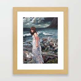 The Parting, Oil Painting Portrait of Woman on Rocky Beach with Seagulls During a Storm Framed Art Print