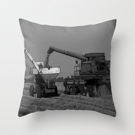Black & White Rice Harvest Pencil Drawing Photo Throw Pillow